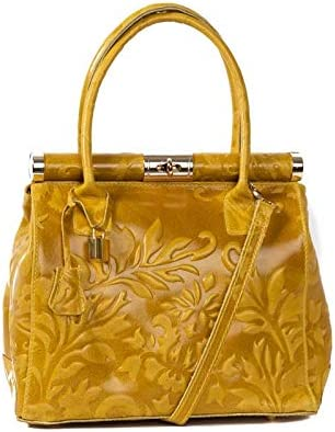 Italian Yellow Tooled Floral Handbag calf leather By Vittoria Pacini; 3 compartments SMALLER VERSION