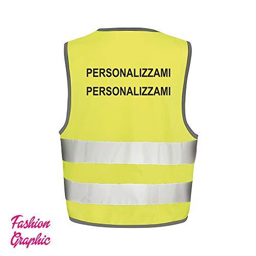 Fashion Graphic Gilet Alta visibilità Personalizzato Due Righe Catarifrangente Giubbotto ISO EN20471 (XXL/XXXL)
