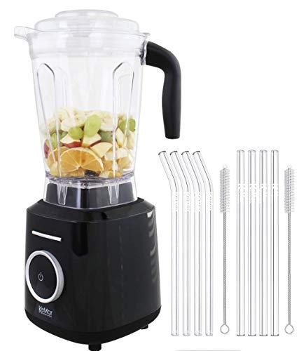 KeMar Kitchenware KSB-300B Standmixer | Hochleistungsmixer | Mixer | Touch Bedienung | 2 Liter | BPA-frei |6 Programme (Schwarz Metallic) | SET mit 8 Glastrinkhalmen