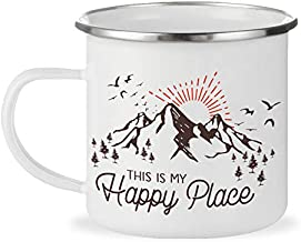 This is My Happy Place 12oz Enamel Campfire Mug, Mountain Camping Coffee Cup, Nature Outdoor Hiking Camp Lover Gift