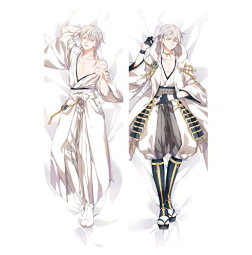 ZHUANQIAN Personajes de Anime Touken Ranbu Tsurumu Kununaga Piel de Melocotón Impresión HD de Doble Cara 50 * 150 cm Funda de Almohada, Funda de Almohada Sin Decoloración, Regalo para Fans