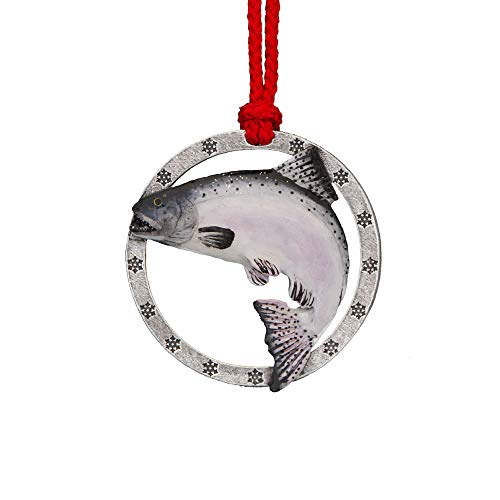 Creative Pewter Designs Chinook Salmon Leaping Hand Painted A Ornament, FP043AOR