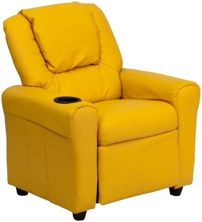 Best Flash Furniture Contemporary Yellow Vinyl Kids Recliner with Cup Holder and Headrest
