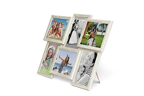 604 Fotogalerie für 6 Fotos 13x18 cm - 3D Optik - Bilderrahmen Bildergalerie Fotocollage Rahmenfarbe Altes Holz