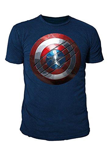 Captain america Marvel Comics T-Shirt da Uomo–Civil War Shield Logo (Navy) (S-XL) Blu Navy L