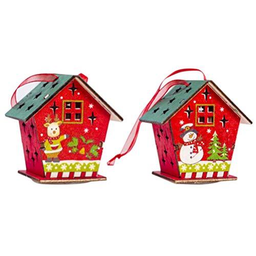 NUOBESTY 2 Pezzi Casette Natalizie Luminose Decorazioni Albero Di Natale In Legno A LED Colorato Ornamento Appendere Di Natale Addobbi Natalizie