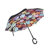 Parapluie inversé double couche pliable en papier origami japonais coupe-vent pour voiture, pluie, extérieur avec poignée en...