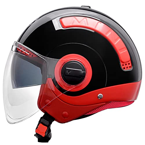 qwert Casco de moto, unisex, para adultos, estilo vintage, con doble visera para ciclomotor 3/4, casco de moto, casco retro Cruiser Scooter, certificado DOT (57-64cm)