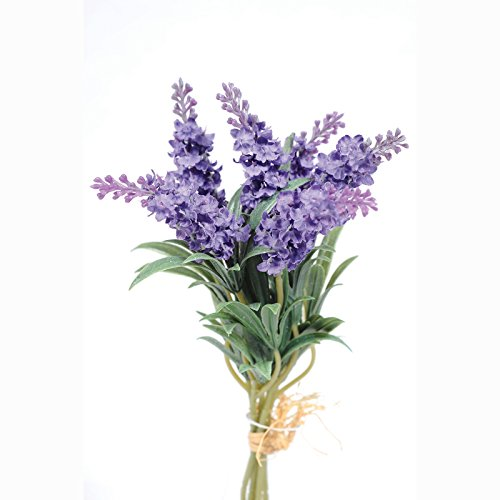 FloristryWarehouse Paquete de lavanda artificial 6 flores moradas 34 cm
