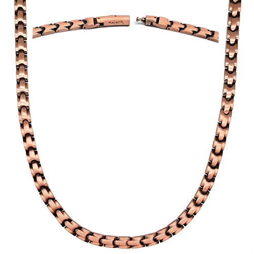 MagnetRX® Copper Magnetic Therapy Necklace - Ultra Strength Magnetic Necklace for Pain Relief and Healing - 99.9% Pure Copper Necklace with Magnets (21.50 Inches, Style: Classic)