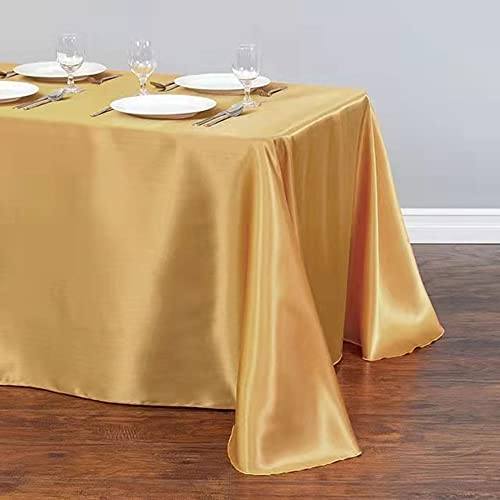 57''x86'' Waterproof Durable Tablecloth Satin Table Linens for Rectangular Tables Wedding Party Table Cloth Kitchen Dinning (Gold, Rectangle)