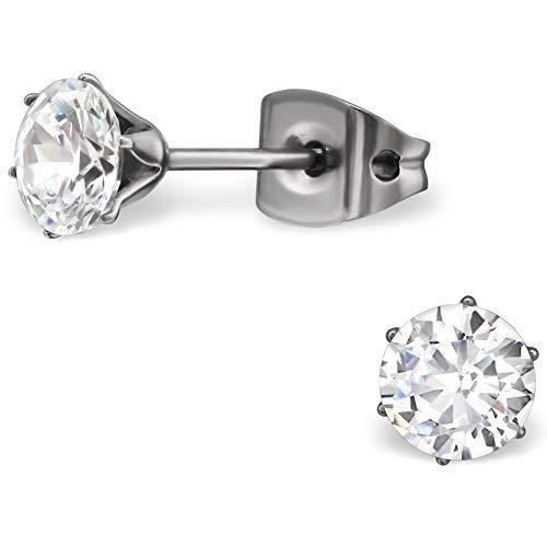 EYS JEWELRY Damen Ohrringe Titan Zirkonia kristall-weiß 5 mm Ohrstecker Damenohrringe Damenohrstecker