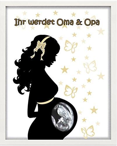 """Bilderrahmen personalisiert -""""Ultraschall"""" - Ihr werdet Oma & Opa - Geschenk - Taufe - Geburt"""