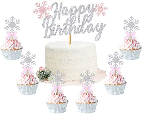 Winter Birthday Cake Topper Pink Glitter Snowflake Cupcake Topper Silver Onederland Holiday product image