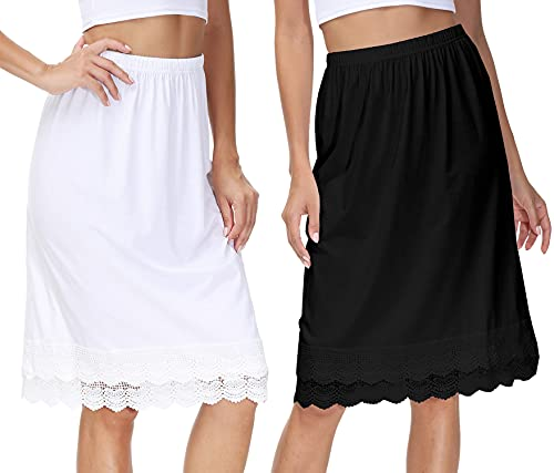 2 Pack Bohemian Lace Skirts for Women Modest...