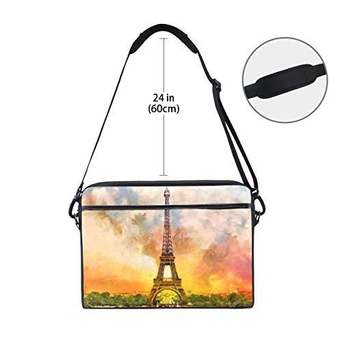 Linomo Computertasche Eiffelturm Laptop Sleeve Sleeve Case Aktentasche Messenger Sleeve Laptop Schultertasche passend für 13 Zoll 14 Zoll Laptops für Frauen Herren Büro Kinder Schule