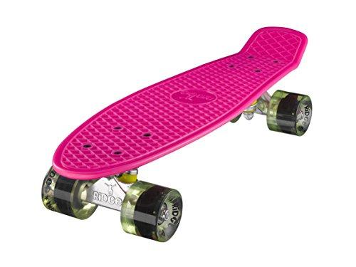 Ridge Retro Skateboard Mini Cruiser, rosa/klar grün, 22 Zoll