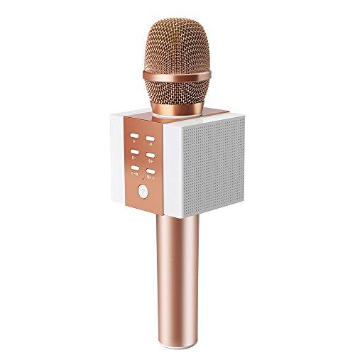 TOSING 008 Micrófono de Karaoke Inalámbrico Bluetooth, Potencia de Volumen Más Alta 10W, Más Bajo, 3-en-1 Máquina de Micrófono Portátil de Altavoz Portátil para Android/PC (rose gold)