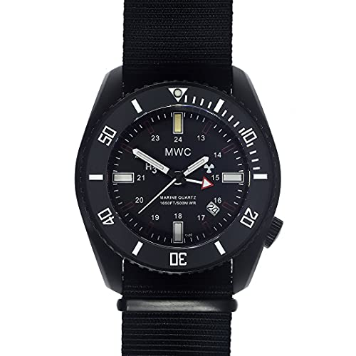 GMT PVD Submarine/Naval Crew Cuarzo Negro Fecha Cerámica Tela NATO Diver Reloj Hombre
