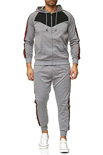 C-IN-C Herren Trainingsanzug Jogginganzug Sportanzug Modell1088 (Grau, XL)