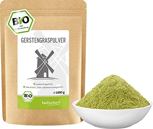Gerstengraspulver BIO 1000g (1 kg) | gemahlenes Gerstengras aus kontrolliert biologischem Anbau | laborgeprüft | 100{ac8b38b66fdb6e04c17891a865edec30e7400095c41f647c2529fab85287c061} naturrein ohne Zusätze | abgefüllt in Deutschland | bioKontor
