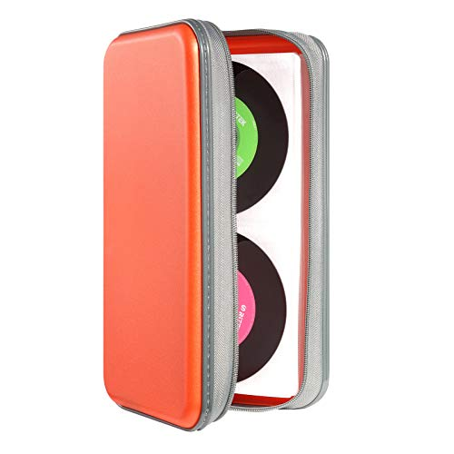 Photo of DVSICK 96 Capacity CD Case,Portable DVD Hard Plastic Case Holder CD Organizer Wallet Protective DVD Storage (Orange)