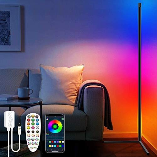 Martiount LED Lámpara de Pie RGB Regulable, Inteligente APP & Remoto Control,Lámpara de Suelo Luz Blanca y Color 20W con Función de Música, para Sala de Estar, Dormitorio, Oficina (4.92ft/59in)