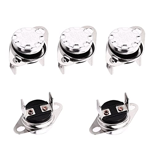 Fielect 5Pcs KSD301 Thermostat 95ーC/203ーF Normally Closed N.C Snap Disc Temperature Switch for Microwave Oven Coffee Maker Smoker Bent Angle