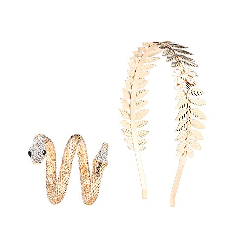 Bridal Hair Crown Head and Snake Arm Cuff Costume Dress Accessory Set,Roman Goddess Leaf Branch Dainty Crown and Egypt Cleopatra Swirl Bracelet (Gold)