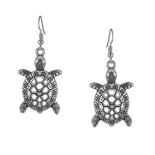 N-K Orecchini a forma di tartaruga intagliata in argento, stile etnico, robusti e resistenti