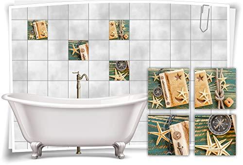 Medianlux Adhesivo decorativo para azulejos de baño, diseño de estrella de mar, 20 x 20 cm, fp5p542q-135358
