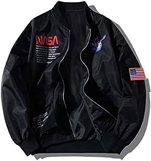 ZAFUL Men' s Biker Bomber Jacket Lightweight NASA Letter Graphic Embroidery American Flag Applique Flight Jacket Windbreaker
