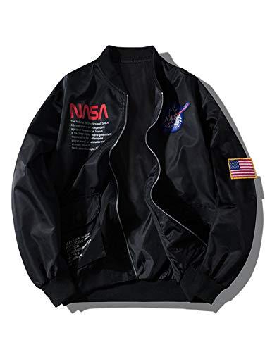 ZAFUL Men' s Biker Bomber Jacket Lightweight NASA Letter Graphic Embroidery American Flag Applique Flight Jacket Windbreaker Black
