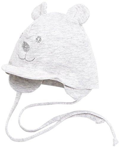 Sterntaler Unisex Schirmmütze mit Bindebändern, Nackenschutz und niedlichem Bärchen-Motiv, Alter: 9-12 Monate, Größe: 47, Silber
