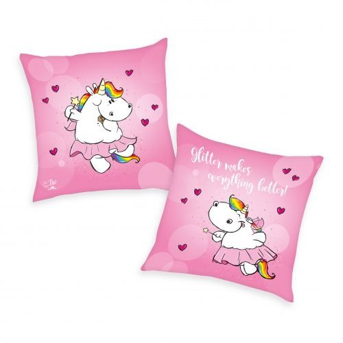 Pummeleinhorn Kissen mit Wendemotiv (flauschig) - Pummelfee (rosa, 40 x 40 cm)