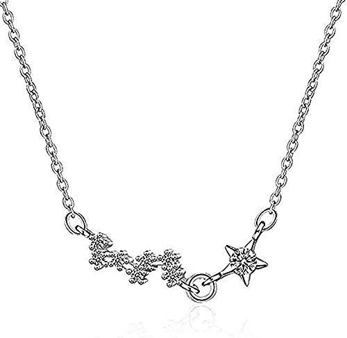DUEJJH Co.,ltd Collar Collar Collar 925 Joyas de Plata Moda Exquisita Cinco Estrellas Temperamento de Cristal Cadena de clavícula Collar Colgante para Mujeres Hombres Regalos