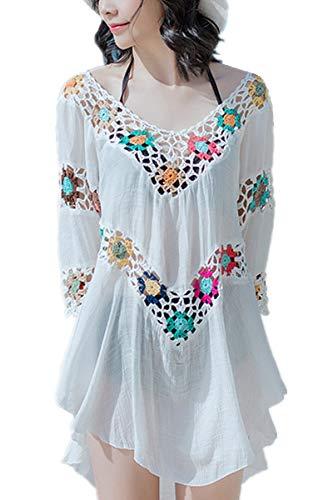 L-Peach Damen V-Ausschnitt Bikini Bluse mit Fransen Damen Bikini Cover Up Sommerkleid Strand One Size Beige
