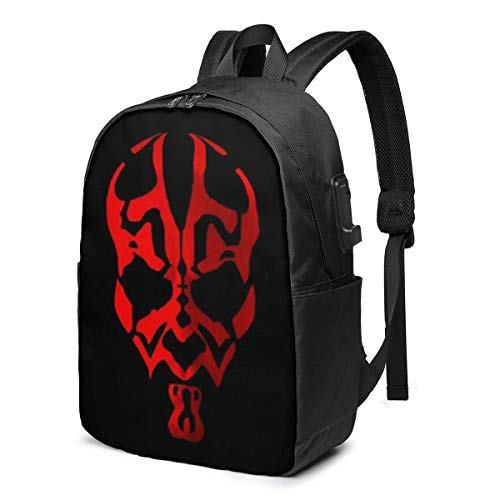 Manda-lorian USB Backpack Travel Laptop Backpack Unisex Lightweight with USB Charging Port Knapsack Backpack 17 in