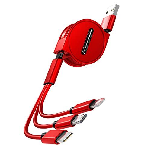 Caricatore rapido multiplo retrattile Cavo di ricarica USB 3 in 1 da 1,2 m con telefono/tipo C/micro USB per telefono/tablet/Samsung Galaxy/Pixel/Sony/LG/HTC (Red) (Red)