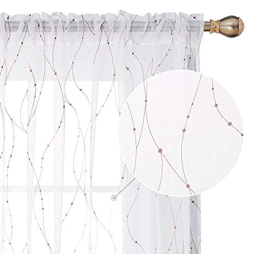 Deconovo Sheer Curtain White 84 Rod Pocket Wave Line with Dots Linen Look Window Curtain for Dining Room 52W x 84L Gold 2 Panels