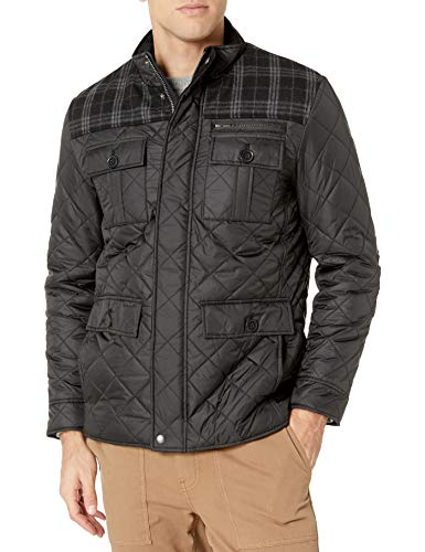 Cole Haan Signature Men's Plaid Wool Mixed Media Multi Pocket Jacket, Black, Large