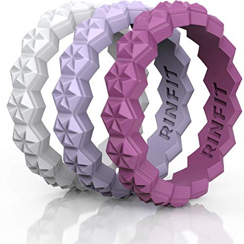 Rinfit Designed Silicone Wedding Ring for Women Set of Thin & Stackable Rings. 3 Rings Pack. Comfortable, Soft Rubber Wedding Bands. (White, Lilac, Radiant Orchid) 3S7 - Size 5