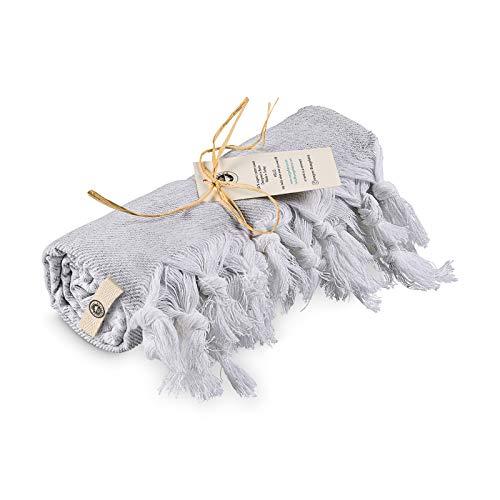Rüzgarfabrics RF Premium - Toalla de playa turca de 100% algodón, 178 cm x 91 cm, toalla de playa también como pestemal o toalla de sauna, 100% fabricada en Turkey, White Grey (White Grey)