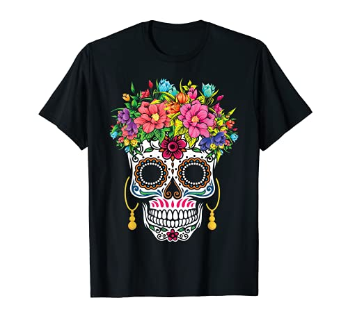 Flor Azcar Crneo Almas Da Muertos Da De Halloween Camiseta