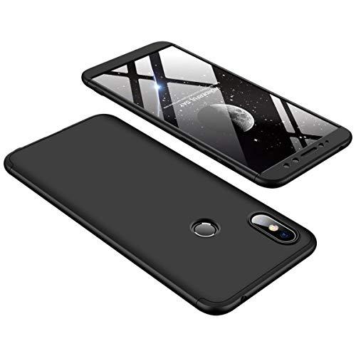Kit Capa Capinha Anti Impacto 360 Para Xiaomi Redmi S2 Tela 5.99- Case Acrílica Fosca E Acabamento Macio Com Película De Vidro Temperado - Danet (Toda preta)