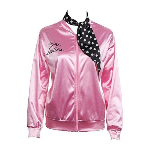 Nofonda Chaqueta de Pink satén Disfraz de Lady con pañuelo de Lunares Cazadora para Mujer Disfraces de 1950s Ladies para Carnavales Halloween Color Rosa