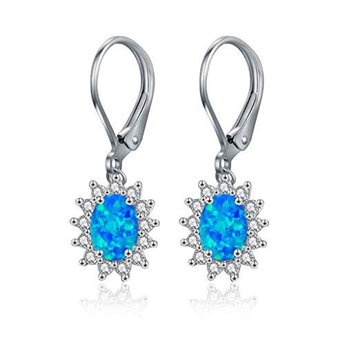 Brincos banhados a ouro branco em opala de latão com fecho em formato de gota, joia feminina azul