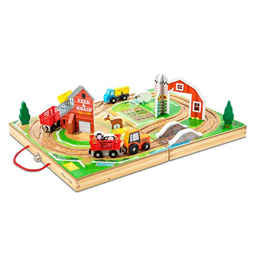 Melissa & Doug 17-Piece Wooden Take-Along Tabletop Farm  4 Farm Vehicles  Play Pieces  Barn  Grain House