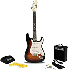 RockJam Superkit de guitarra eléctrica de tamaño completo con amplificador de guitarra, Cuerdas de guitarra, Correa, Bolsa y cable de guitarra Sunburst