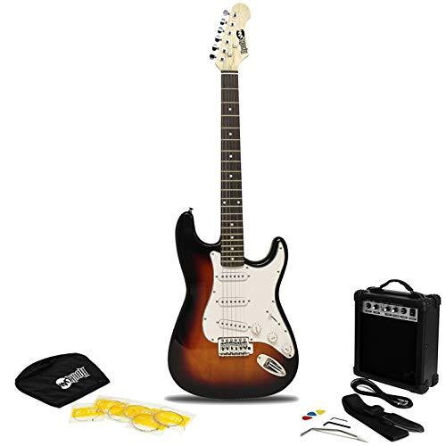 RockJam 6 Electric Kit, Amp, Strings, Bag, Guitar Plectrums, Strap & Whammy Bar. -Sunburst, Right, (RJEG02-SK-SB)